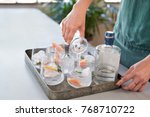 woman pouring tonic soda water... | Shutterstock . vector #768710722