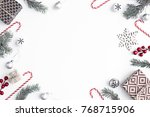 Small photo of Christmas compositiondecorations over white background/ Flat lay, top view