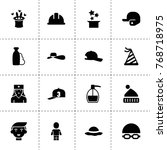 cap icons. vector collection...