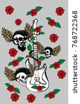 tattoo punk skull and wild rose ... | Shutterstock .eps vector #768722368