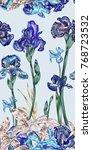 purple vintage iris repeat... | Shutterstock .eps vector #768723532