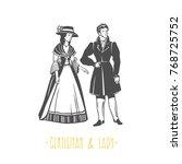 vintage lady and gentleman... | Shutterstock .eps vector #768725752