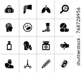 illness icons. vector... | Shutterstock .eps vector #768728956