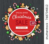 christmas sale flyer template.... | Shutterstock .eps vector #768734812