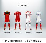 mockup of group g football... | Shutterstock .eps vector #768735112