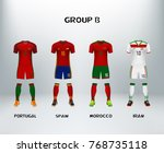 mockup of group b football... | Shutterstock .eps vector #768735118