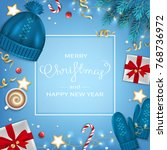 merry christmas and happy new... | Shutterstock .eps vector #768736972