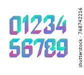 3d holographic font  colorful... | Shutterstock .eps vector #768742216