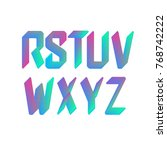 3d holographic font  colorful... | Shutterstock .eps vector #768742222