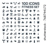fitness and sport 100 isolated... | Shutterstock .eps vector #768744172