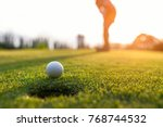 golfer asian woman focus... | Shutterstock . vector #768744532