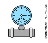 pressure gauge color icon. pipe ... | Shutterstock . vector #768748858