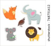 stickers and icons set of cute... | Shutterstock .eps vector #768751612