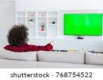 young handsome man in bathrobe... | Shutterstock . vector #768754522