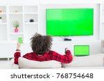 young handsome man in bathrobe... | Shutterstock . vector #768754648