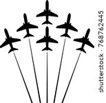 airplane flying formation  air... | Shutterstock .eps vector #768762445