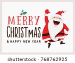 santa claus greeting card... | Shutterstock .eps vector #768762925