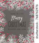 christmas background with fir... | Shutterstock .eps vector #768762976