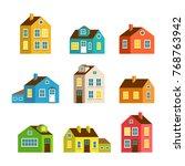 small and big flat cartoon... | Shutterstock . vector #768763942