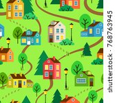 green summer landscape of town... | Shutterstock . vector #768763945