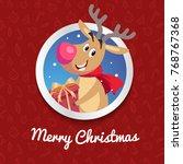 Happy Reindeer With Big Red...