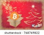 bitcoin gift unboxing beside... | Shutterstock . vector #768769822