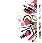 cosmetics set  hand drawn style ... | Shutterstock .eps vector #768770695
