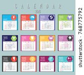set of calendar planner 2018... | Shutterstock .eps vector #768775792