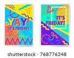 it's friday. yay. vector poster ...   Shutterstock .eps vector #768776248