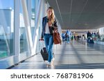 happy woman traveling and... | Shutterstock . vector #768781906