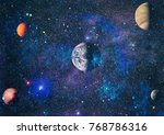 stars of a planet and galaxy in ... | Shutterstock . vector #768786316