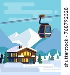 resort with hotel with a ski... | Shutterstock .eps vector #768792328