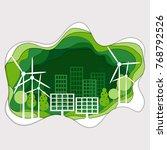 green energy paper art style | Shutterstock .eps vector #768792526
