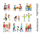 parents teach kid read  play... | Shutterstock . vector #768797635