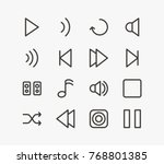 music icon set with backward ...