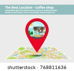 the best location coffee shop.... | Shutterstock .eps vector #768811636
