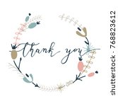 thank you lettering with floral ... | Shutterstock .eps vector #768823612
