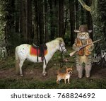 Stock photo the cat hunter with a gun stands near a his horse in the forest 768824692