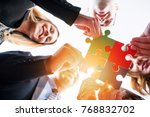 group of business people puting ... | Shutterstock . vector #768832702