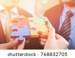 group of business people puting ... | Shutterstock . vector #768832705
