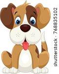 Stock vector cute little dog cartoon 768835102