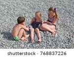 siblings have fun time on the... | Shutterstock . vector #768837226