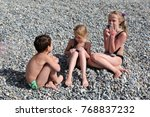 siblings have fun time on the... | Shutterstock . vector #768837232