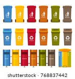 trash containers colorful icons ... | Shutterstock .eps vector #768837442