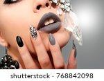 black gray glam matte makeup... | Shutterstock . vector #768842098
