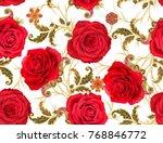 seamless pattern. golden...   Shutterstock . vector #768846772