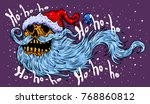 santa claus skull. funny... | Shutterstock .eps vector #768860812