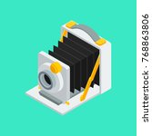 Large Format Analog Camera VOL.01 - Vecor flat 3D isometric Illustration for modern minimal design - stock vector