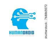 techno human droid head vector... | Shutterstock .eps vector #768865072