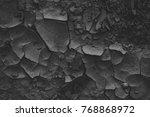 Black Cracked Ground. Texture...